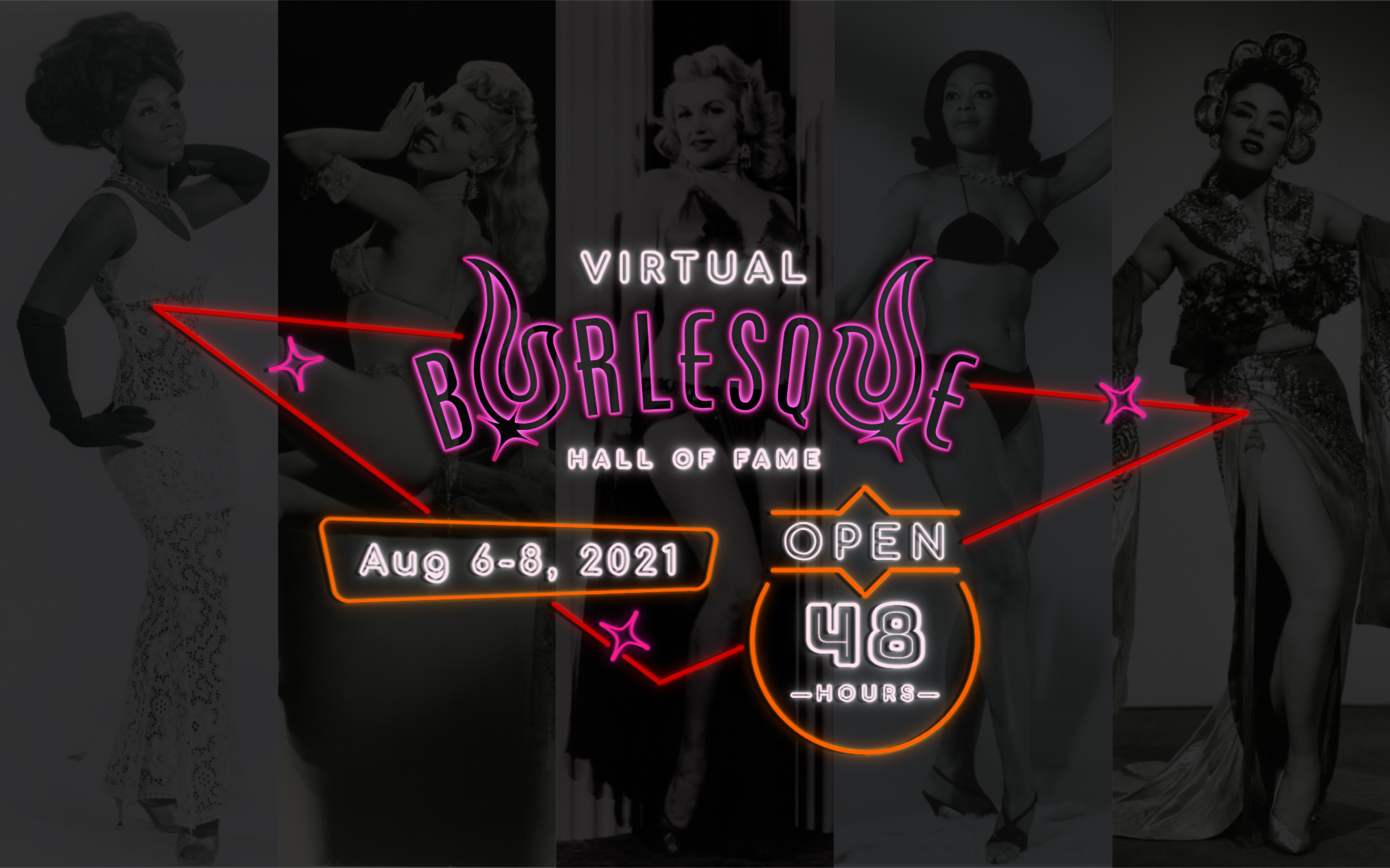 VHoF 2021 Banner - Las Vegas style neon logo with burlesque dancers in the background